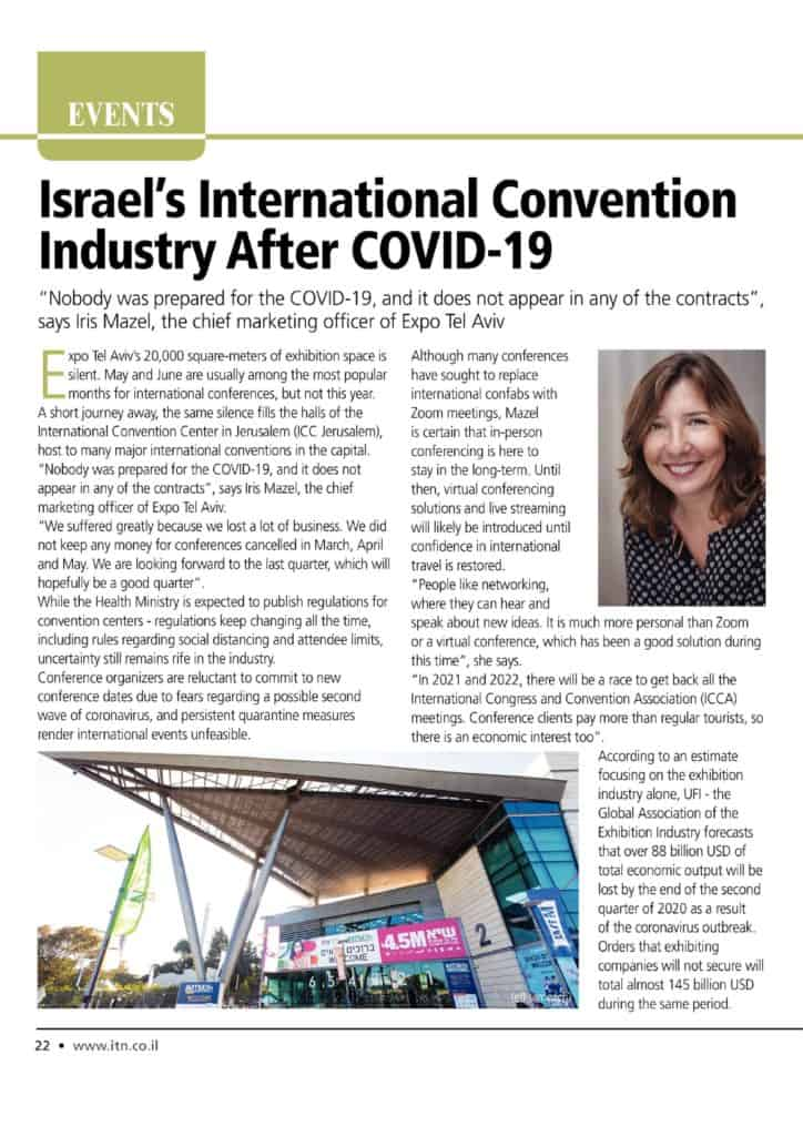 ITN article - Israel's International Convention Industry After Covid-19